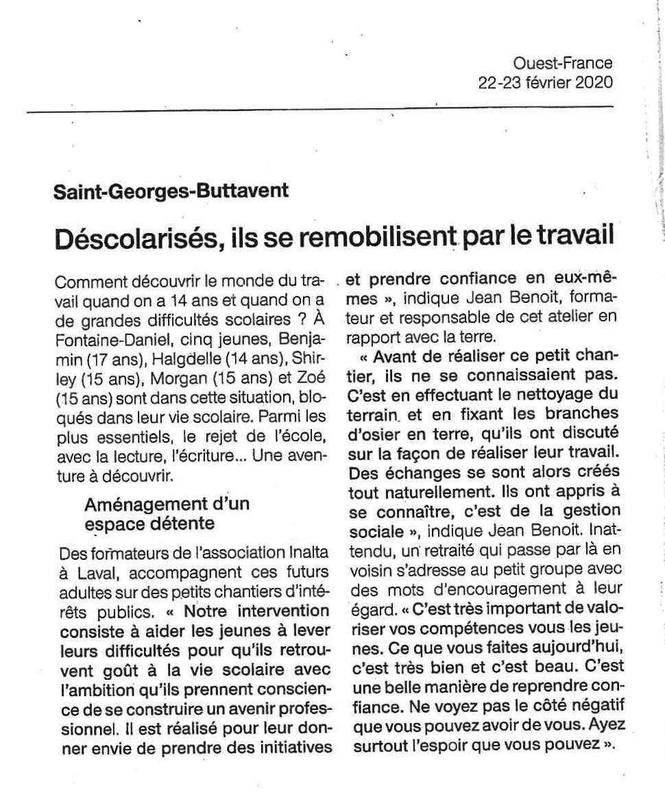 2020.03 article ouest france SAJE